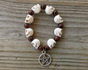 Red Tigers Eye and Stone Skull Stretch Bracelet