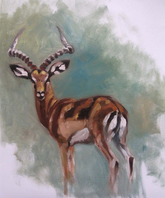 Impala Original Oil Painting Of An African Antelope By