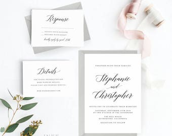 Modern Wedding Invitation Suite, Wedding Invitation Printable, Invitation Set, Wedding Invitation Rustic, PDF Letter or A4 (Item code: P470)