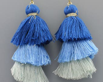 Blue Ombre Layered Thread Tassel Earrings