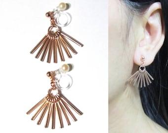 "Dangle Clip-on Earrings  24M  Rose Gold GP ""Rays of Sunlight"" Fan Bar Ethnic Tribal clipon Earring Long Clip Earrings Invisible Clip-ons"
