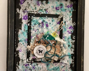 Mixed Media Art, Shadow Box, Shades of Teal, wall art, gift for her, home decor, painting, handmade, one of a kind, art, mixed media collage