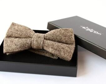 Bark color Wool Bowtie for Men. Tweed Bowtie. Bow tie for Wedding Groom or Men Gifts