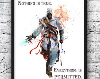 Assassin's Creed Watercolor Print, Video Game Poster, Kids Room Decor, Movie Poster, Home & Living, Wall Art, Home Decor, Nursery - 627