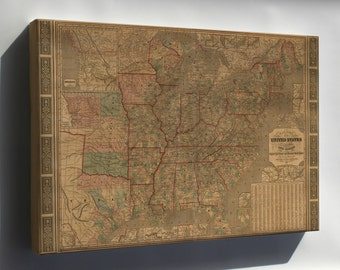 Canvas 24x36; Map Of United States Railroad & Stage Coach 1847
