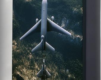 Canvas 24x36; Kc-10 Extender (Top) Refuels An F-22 Raptor