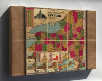 Canvas 24x36; Railroad & Township Map Of New York State 1896