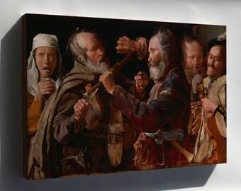Canvas 24x36; The Musicians Brawl By Georges De La Tour 1625