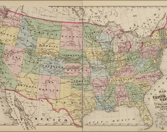 16x24 Poster; Map Of The United States Of America 1878