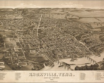 16x24 Poster; Map Of Knoxville, Tennessee 1886