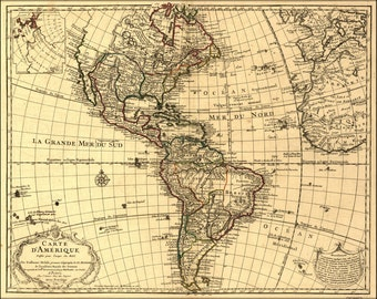 16x24 Poster; Map Of North & South America; United States  1780