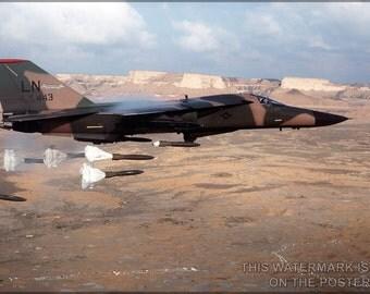 16x24 Poster; F-111 Aardvark Dropping Mark 82 High-Drag Bombs