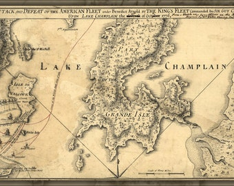 16x24 Poster; Map Of Benedict Arnold On Lake Champlain 1776 P1