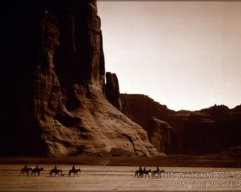 16x24 Poster; Canyon De Chelly – Navajo. Seven Riders On Horseback And Dog Trek Against Background Of Canyon Cliffs, 1904