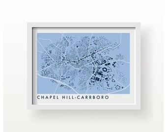 CHAPEL HILL-CARRBORO Map Print - graphic drawing art poster unc tar heels