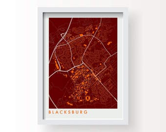 BLACKSBURG Map Print - graphic drawing art poster Virginia Tech Hokies