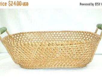Hand Woven Bread Basket,Porcelain Handled Basket,LARGE,Woven Basket,Bread Basket,Storage Basket,Basket w Handle,Rustic,Primatives,Sage,Green