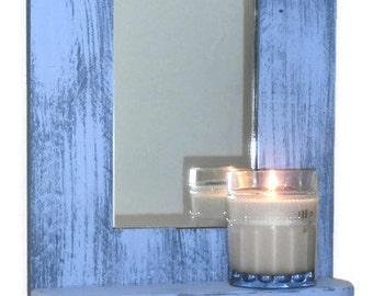 Blue Key Rack With Shelf-Beach Decor Entryway Mirror With Hooks-Entryway Key Holder with Shelf-Reclaimed Wood Key Rack With Mirror and Shelf