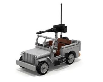 Lego Custom Willys MB U.S. Army Jeep World War ll Replica fits minifigures moc