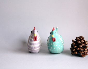 Hen violet and turquoise striped, A Hen and polka dots, chicken décor, Home decoration