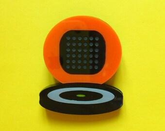 Vintage Record Player acrylic brooch, Orange and Black turntable, Speaker