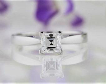 Asscher Cut Diamond Solitaire Ring, Diamond Solitaire Engagement Ring, 0.70 Carat Asscher Cut Diamond Solitaire Engagement Ring, PromiseRing