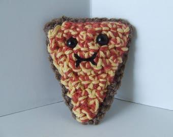 Amigurumi Pizza, Crochet Food, Crochet Pizza Slice, Plush Pizza, Smiling Pizza, Smiling Food