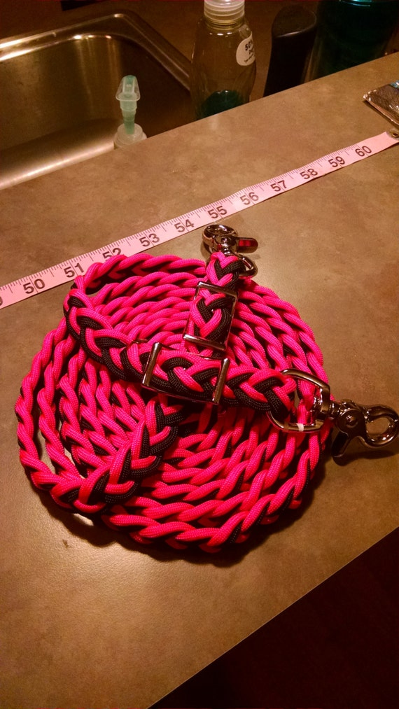 Horse Tack: Adjustable 9ft Paracord Barrel Reins, 6 strand flat braid 550 paracord with trigger snaps and conway buckles
