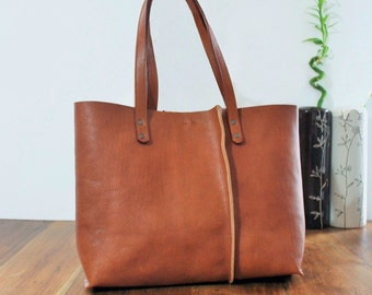 Brown leather tote | Etsy
