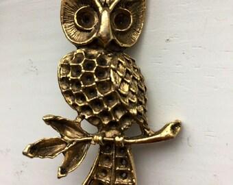 Vintage Brass Owl Brooch