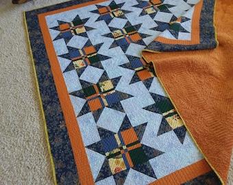 Twin bed quilt- blue & orange quilt- boys quilt-girls quilt- minky quilt