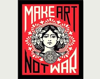Make Art Not War Art Decal - Art Deco Decal  - Art Nouveau Decal - Vintage Style Sticker - Laptop Sticker - Car Decal - RV Decal - S311