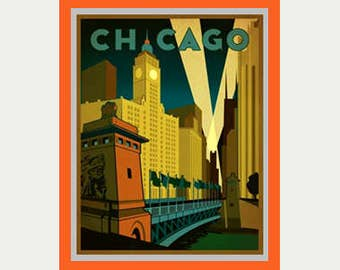 Chicago Decal - Chicago Sticker - Vintage Style Chicago Decal - Chicago Car Decal - Chicago RV Decal - Chicago Laptop Decal - S92