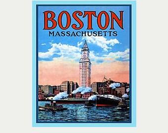 Boston Decal - Massachusetts Decal - Boston Sticker - Vintage Style Decal - Boston Car Decal - Boston RV Decal - Boston Laptop decal - S340