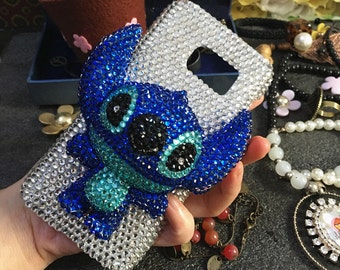 Bling New Sparkles Luxury Sapphire Blue 3D Stitch Charms Gems Crystals Rhinestones Diamonds Fashion Lovely Hard Cover Case for Mobile Phones