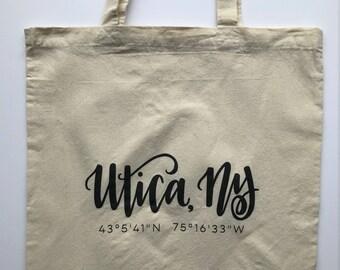 Utica, NY Tote Bag | Limited Edition Utica Tote | Natural Cotton Tote Bag