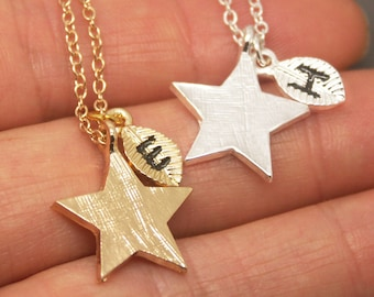 Star Necklace, Gold Star Necklace, Brushed Star, Personalized Initial Necklace, Star Jewelry, Star Pendant, Star Charm NB609