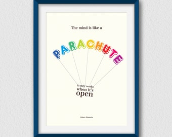 The mind is like a parachute... Printable, inspirational and decorative wall art. Instant Download - 3 High Resolution JPEG files.