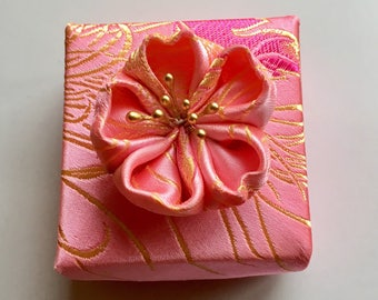 Origami Gift Box - Small Square Origami Box in Pink and Gold Satin Fabric