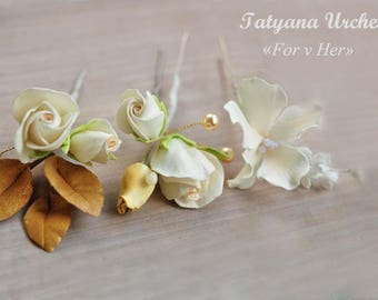 Wedding Hair Pins flower Ivory Boho hair pin Wedding hair piece Hair Pins gold leaves Bridal Flower hair pin Wedding hair accessories roses