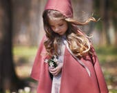 Toddler Wool Cape-Hooded Cape-Girls' Capelet-Pink Cape-Sizes 2T to 9/10-Baby Cape-Wool girls Cape-Girls poncho-