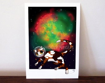 Space Cat Print - Dumbbell Nebula - Fine Art Archival Soft White Cotton Paper - Gloss Photo Paper - Digital Print - A4 and A5 Size
