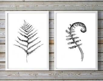 Fern art - fern leaf - set of 2 - black white - nature print - plant illustration - botanical drawing - fern watercolor - fern decor art