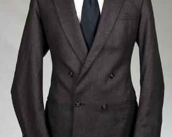 ON SALE Vintage Alexandre Custom Brown Pinstripe Wool Blazer/Jacket 40 L Skinny