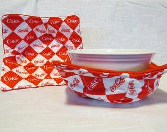 Coke Coca-Cola  Bowl Cozy - Microwave Potholder - Reversible - Set of 2