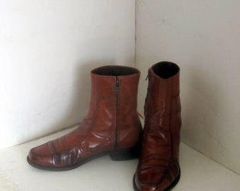 sz 8 d  vintage men brown leather  ankle boots