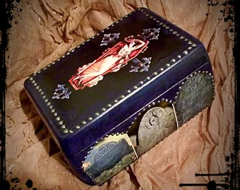 GOTHiC ++ CR0SS Hand-Painted Wood Treasure Box with Cemetery Graveyard Paper Decoupage Tombstones by New Orleans Artist L.e. DUBiN