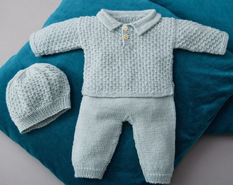 Hand knitted baby set jacket+pants+shoes in greenish grey. Merino extrafine. 0-1.5 / 1.5-6 / 6-12 months. For Newborns.gift. Made to order.