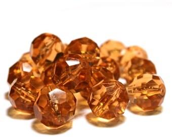 18 Vintage Beads, Vintage Plastic Beads, Plastic Amber Beads, Plastic Vintage Beads, Amber Vintage Beads, Faceted Amber Beads, Amber Beads