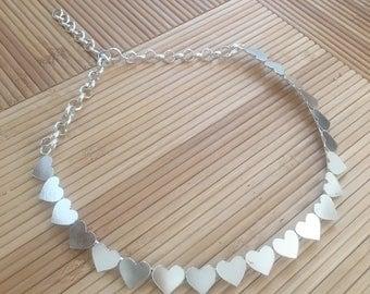 Silver Hearts necklace-Short heartnecklace-silver bib necklace